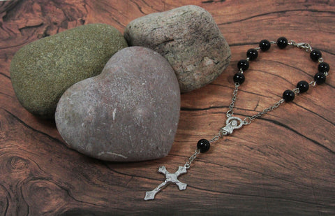 Rosary-Type Beaded Bracelet with Cross & Mary