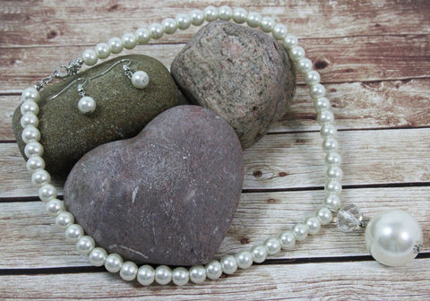 Large (Faux) Pearl & Necklace With Matching Drop Earrings