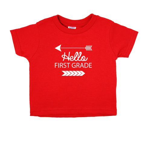 Hello First Grade Short Sleeve T-Shirt (7 Color Options)