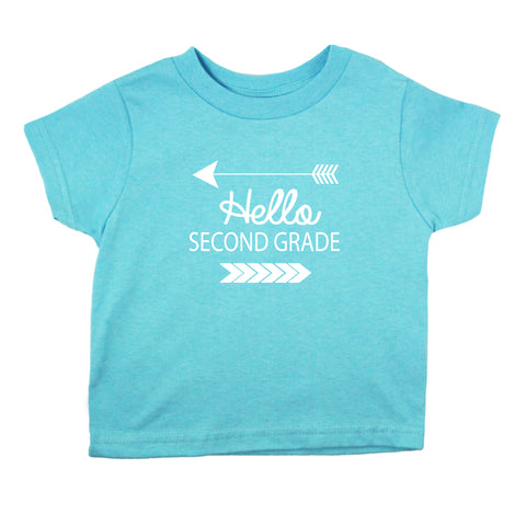 Hello Second Grade Short Sleeve T-Shirt (7 Color Options)