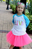 Kindergarten Diva T-Shirt, Tutu, Headband Set (Blue & Hot Pink)