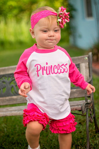 Personalized Raglan Shirt With Ruffled Shorts - Hot Pink