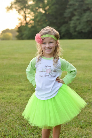 Follow Your Own Arrow T-Shirt, Tutu, Headband Set - Lime Green