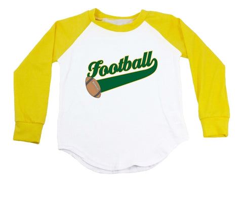 Green Text Football Raglan T-Shirt
