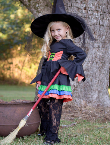 Black, Orange, & Green Ruffle Sleeve Witch's Dress