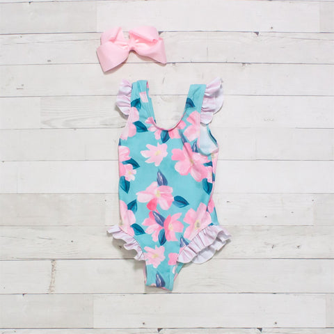 Light Blue & Pink Floral One-Piece Ruffle Swimsuit - Tropical