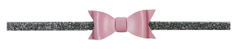 "Pink 2.5"" Leather Bow on Silver Glitter Skinny Headband"