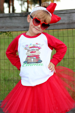 Christmas Reindeer Personalized T-Shirt, Tutu, Headband Set - Red