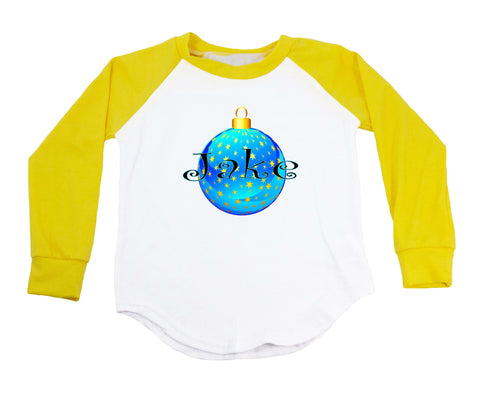 Blue with Stars Christmas Ornament - Personalized Raglan T-Shirt
