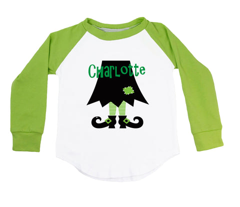Green Witch Legs - Personalized Raglan T-Shirt
