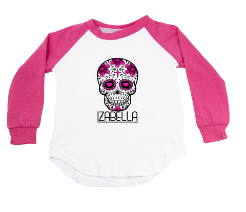 Hot Pink Sugar Skull - Personalized Raglan T-Shirt