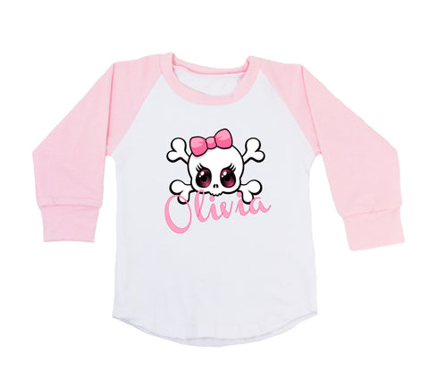 Cartoon Skull & Crossbones with Bow - Personalized Raglan T-Shirt