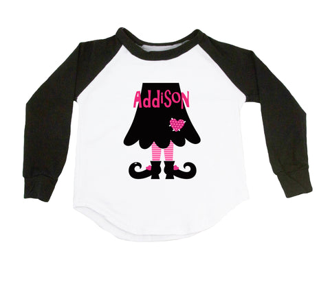 Hot Pink Witch Legs - Personalized Raglan T-Shirt