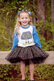 Blue Elf Legs Raglan T-Shirt, Black Sparkle Tutu, & Hair Bow Set