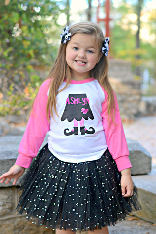Hot Pink & Black Witch's Legs Personalized T-Shirt, Black Sparkle Tutu, & Korker Hair Bows Set