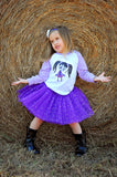 Zombie Girl T-Shirt, Purple Sparkle Tutu, & Satin Headband Set