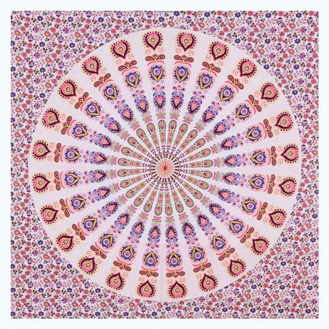 "90"" Square Indian Mandala Beach Throw - Gorgeous Shades of Lavender, Cream & Plum Circle Pattern"