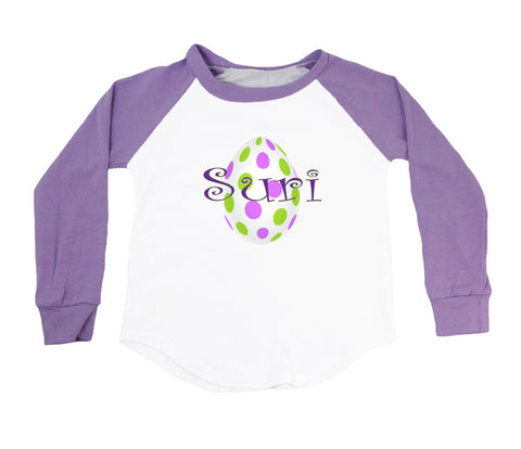 White with Lavender & Green Dots Easter Egg - Personalized Raglan T-Shirt