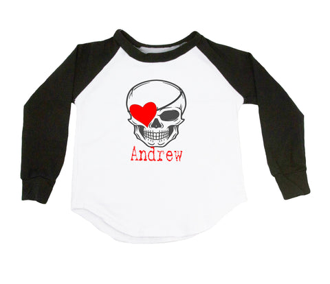 Valentine's Day Skull - Personalized Raglan T-Shirt
