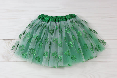 White & Green Glitter Shamrocks Tutu