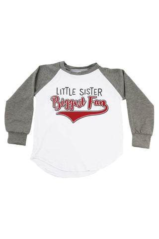 Little Sister, Biggest Fan - Personalized Name & Number Raglan T-Shirt
