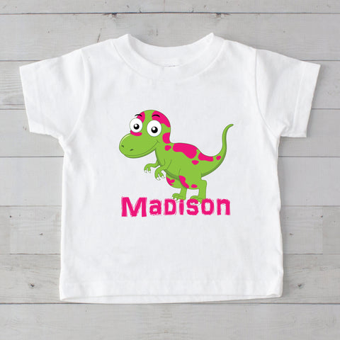 Lime & Hot Pink Baby Dino Personalized Graphic T-Shirt