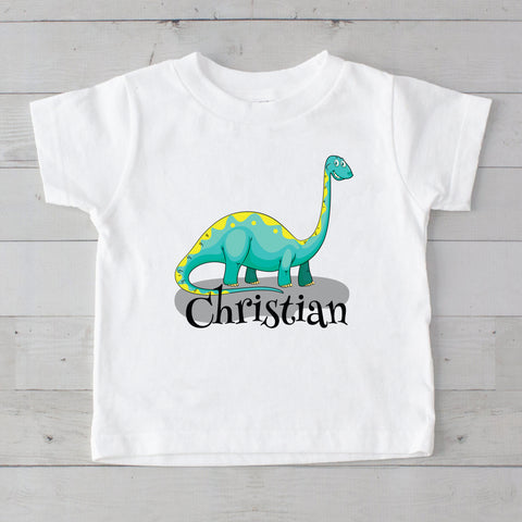 Turquoise & Yellow Baby Dino Personalized Graphic T-Shirt