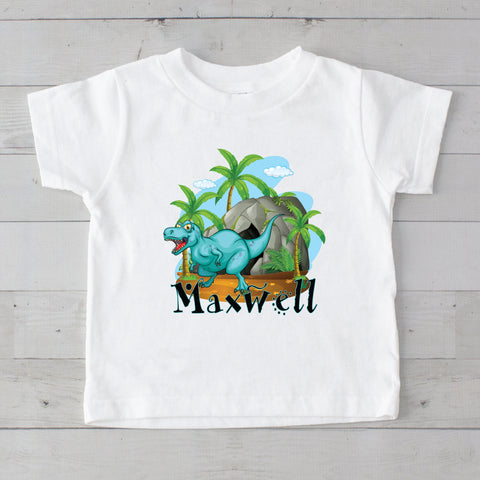 Turquoise Baby Dino Personalized Graphic T-Shirt