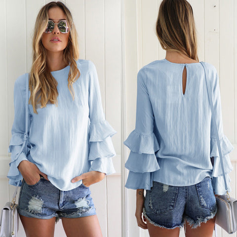 Chiffon Layer Ruffle Sleeve Top