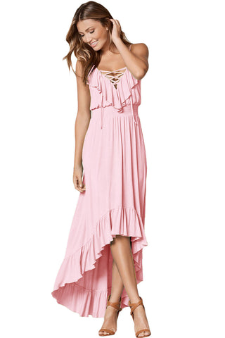 Lace Up V-Neck Ruffle Trim Hi-Low Maxi Dress