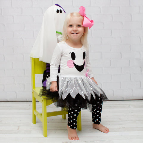 Ghost Face 2 Piece Halloween Outfit - Tutu Top & Pants