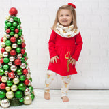 Red & Gold Reindeer A-Line Tunic Set - Top, Pants & Scarf