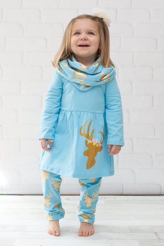 Light Blue & Gold Reindeer A-Line Tunic Set - Top, Pants & Scarf