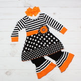 Halloween Spirit - Black & White w/ Orange Trim Ghost Outfit - Top & Pants