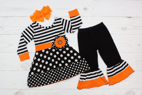 Black & White w/ Orange Trim Ghost Outfit - Top & Pants