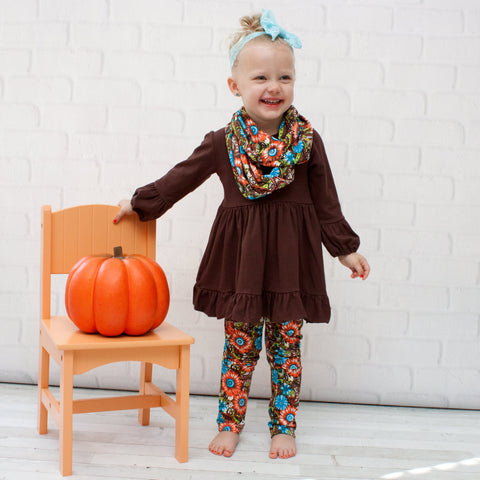 Girls Multicolored Floral Print Outfit - Top, Pants & Scarf