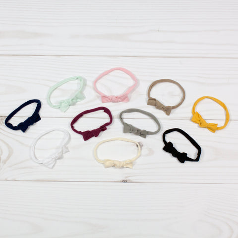 Mini Bow Fabric Knot Tie Headbands