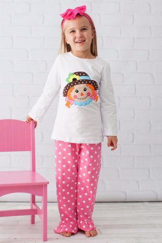 Girls Pink & White Scarecrow Outfit - Top & Pants
