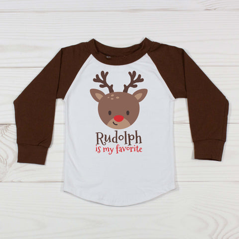 My Favorite Reindeer (Choose Reindeer) - Brown Raglan T-Shirt