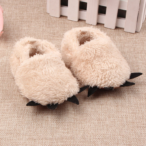 Furry Animal Paw Slippers - Infant & Toddler
