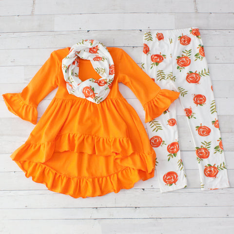 Girls Orange & White Floral Print Outfit - Top, Pants & Scarf