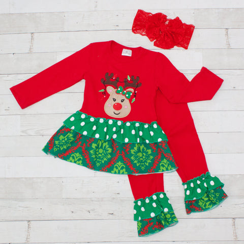 Girls Red & Green Reindeer Outfit - Top & Pants