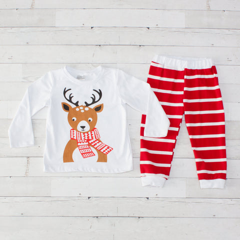 Red & White Reindeer Pajamas - Top & Pants