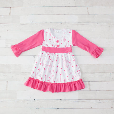 Little Sweet Heart White With Pink Hearts Ruffle Sleeve Dress