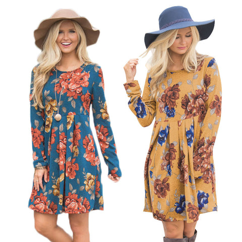Women's Long Sleeve Floral Print Knee Length A-Line Dress