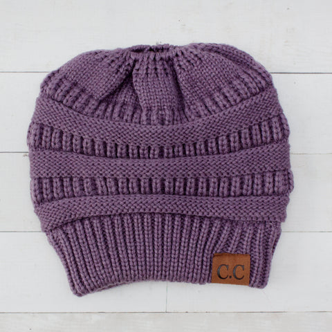 Women's CC Crochet Beanie with Ponytail Hole
