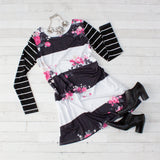 Mommy & Me Floral Print Striped Sleeve Dress