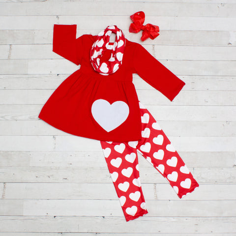 Little Love Girls Red & White Heart Print Outfit - Top, Pants & Scarf