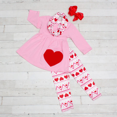 Heart Breaker 3pc A-Line Tunic Set - Top, Pants & Scarf