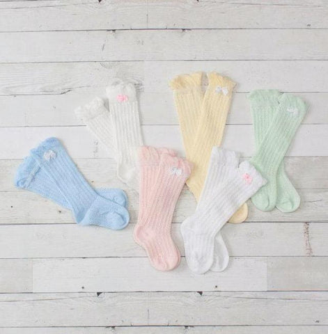 Ruffled Knee High Socks with Bows - Infant to Girls
